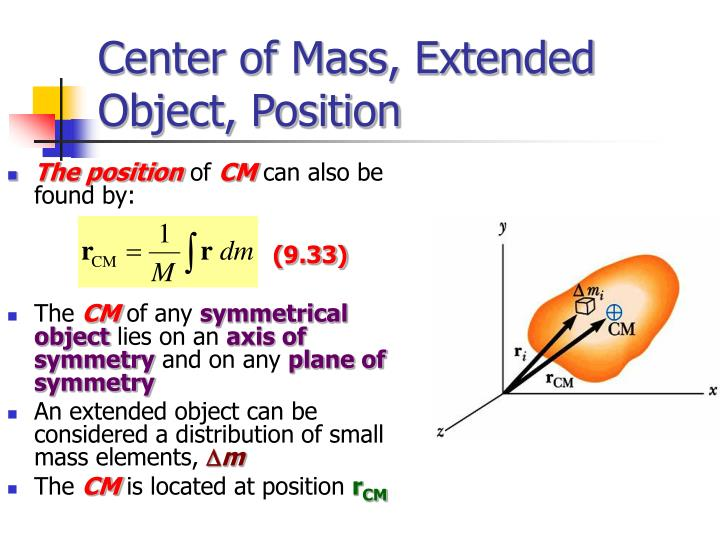 Center of Mass, Extended Object, Position