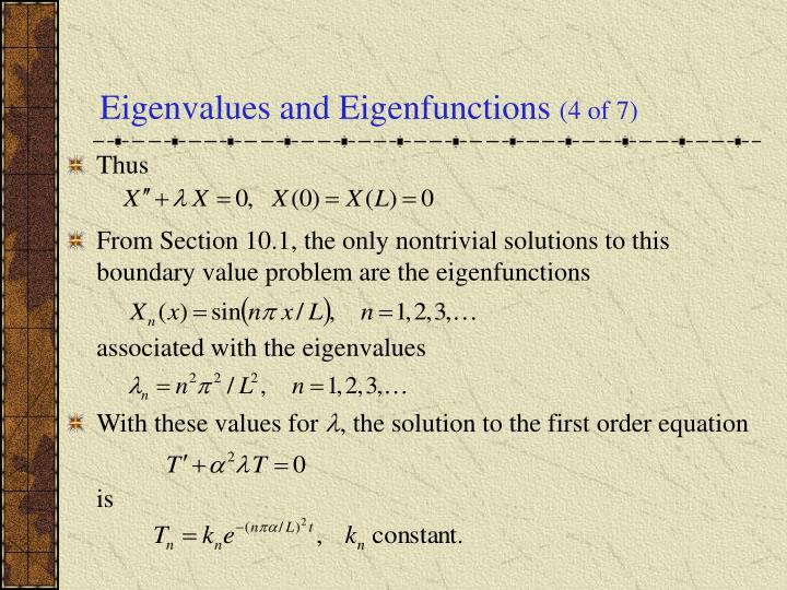Eigenvalues and Eigenfunctions
