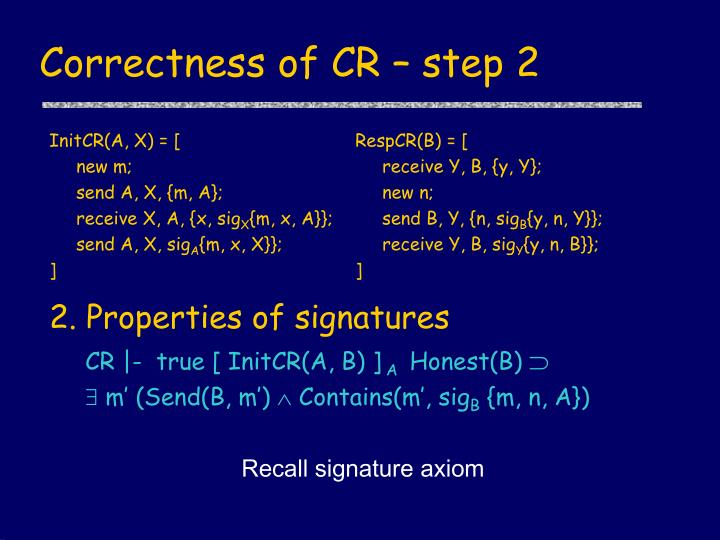Correctness of CR – step 2