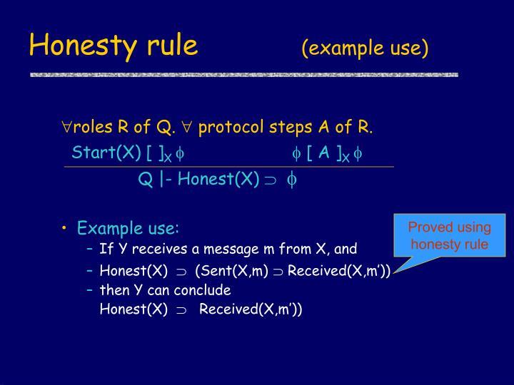 Honesty rule