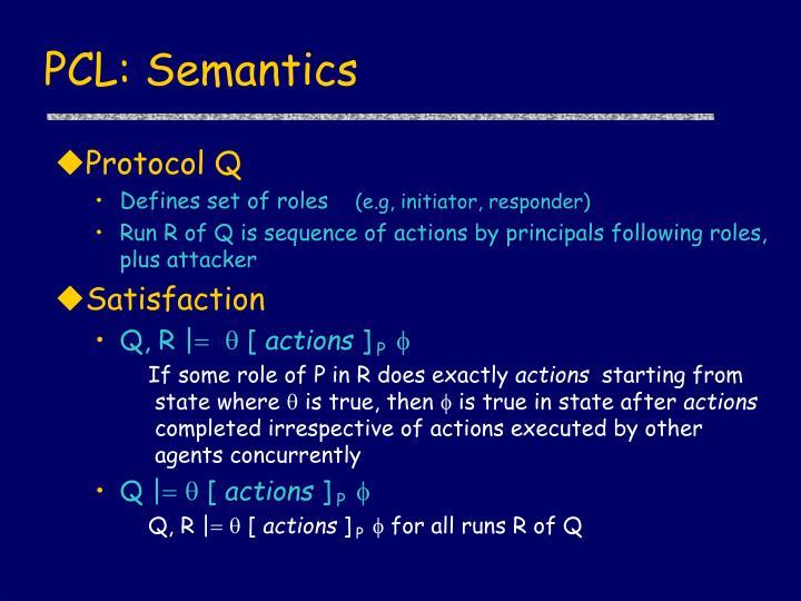 PCL: Semantics