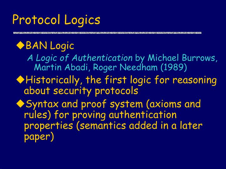 Protocol Logics