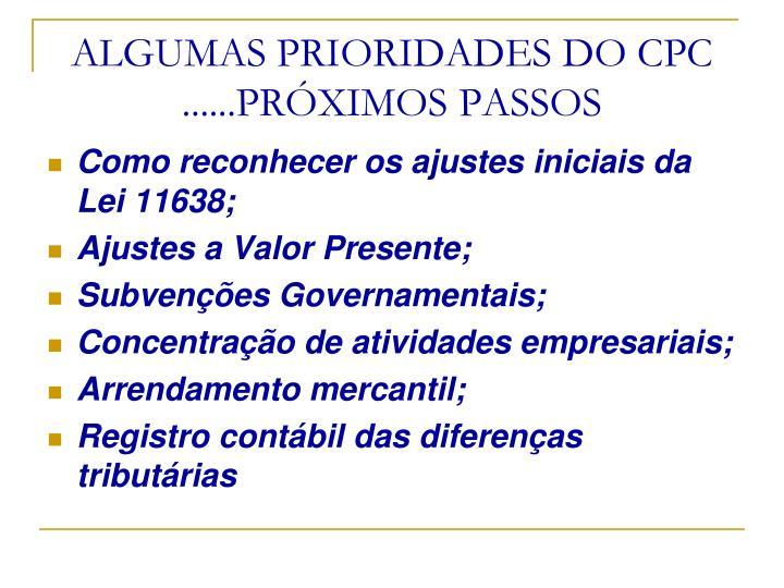 ALGUMAS PRIORIDADES DO CPC