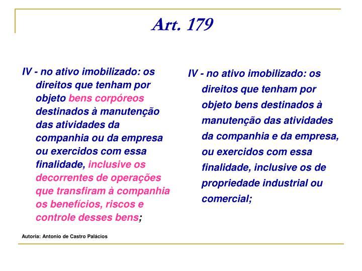 IV - no ativo imobilizado: os direitos que tenham por objeto