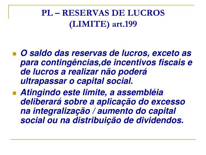 PL – RESERVAS DE LUCROS