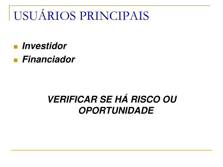 USUÁRIOS PRINCIPAIS