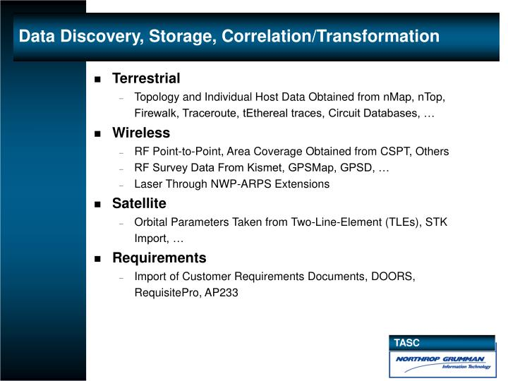 Data Discovery, Storage, Correlation/Transformation