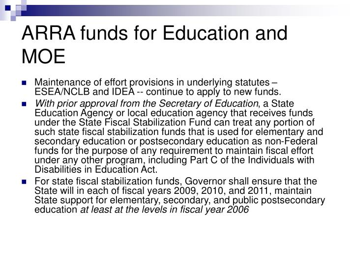 ARRA funds for Education and MOE