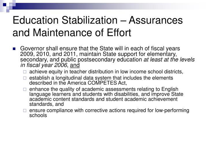 Education Stabilization – Assurances and Maintenance of Effort