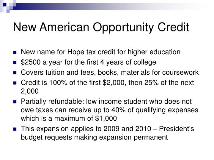 New American Opportunity Credit