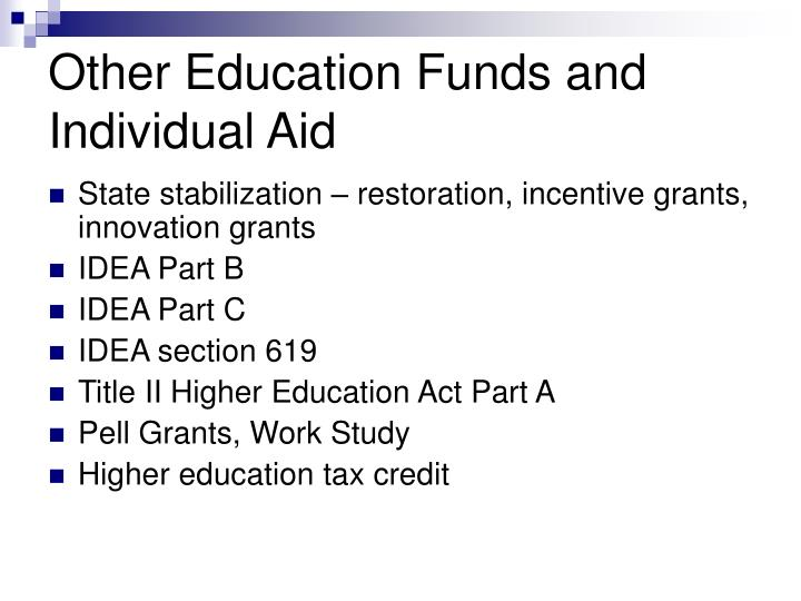 Other Education Funds and Individual Aid