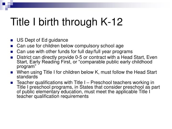 Title I birth through K-12