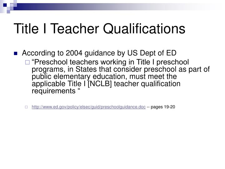 Title I Teacher Qualifications