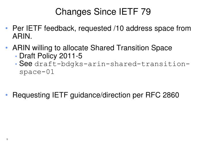 Changes Since IETF 79