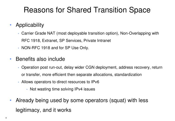 Reasons for Shared Transition Space