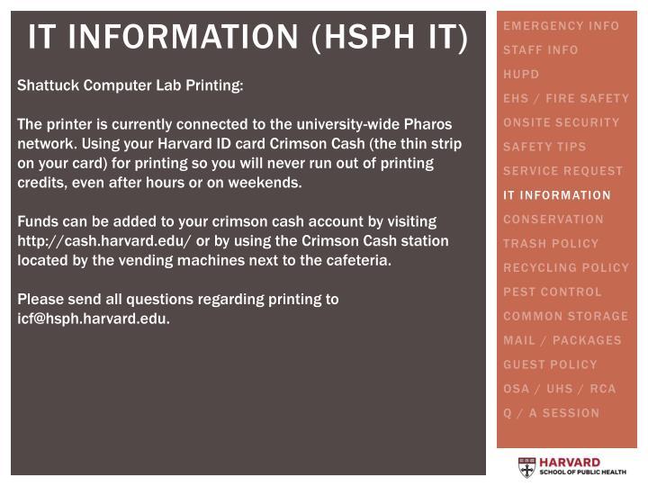 Shattuck Computer Lab Printing: