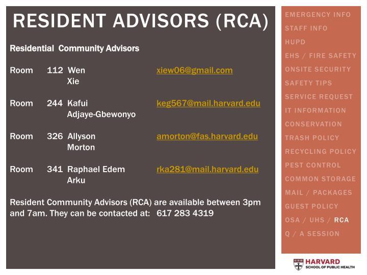 Residential  Community Advisors