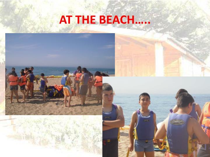 AT THE BEACH…..