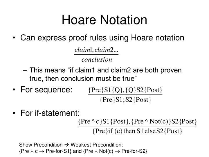 Hoare Notation