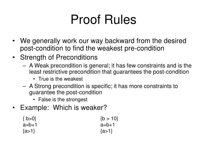 Proof Rules