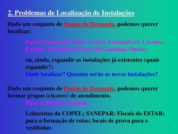 2. Problemas de Localização de Instalações