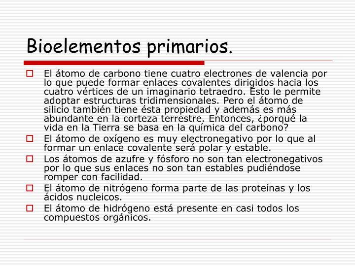 Bioelementos primarios.