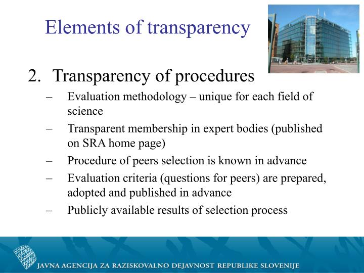 Elements of transparency