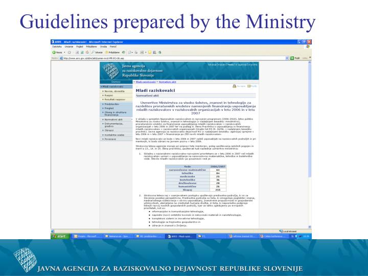 Guidelines prepared by the Ministry