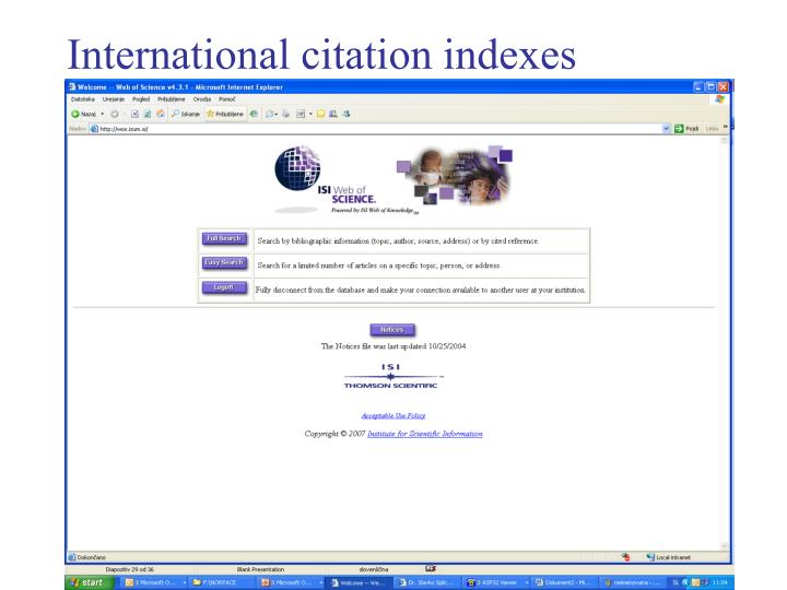 International citation indexes