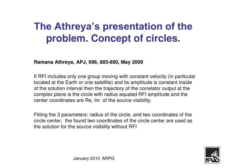 The Athreya's presentation of the problem. Concept of circles.