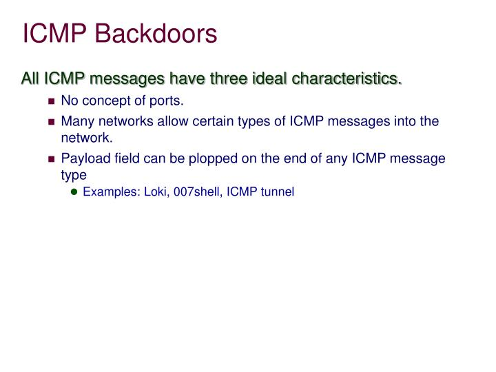 ICMP Backdoors