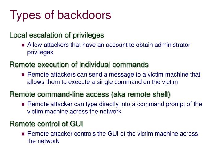 Types of backdoors