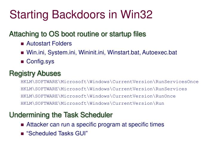 Starting Backdoors in Win32