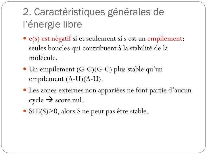 2. Caractéristiques générales de l'énergie libre