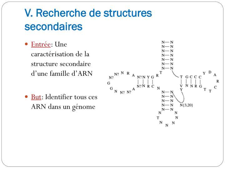 V. Recherche de structures secondaires