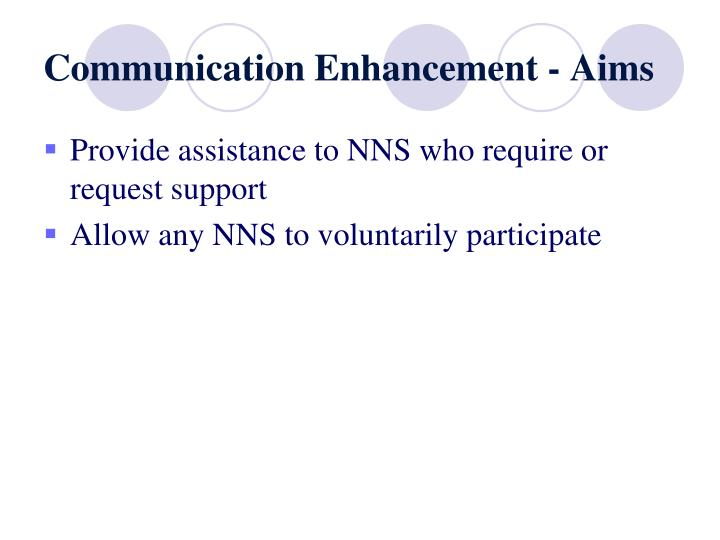 Communication Enhancement - Aims