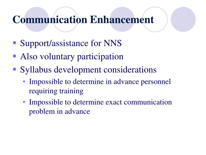 Communication Enhancement