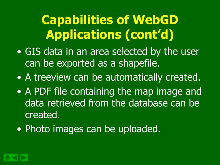 Capabilities of WebGD Applications (cont'd)