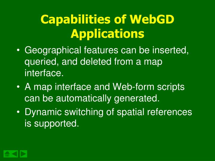 Capabilities of webgd applications