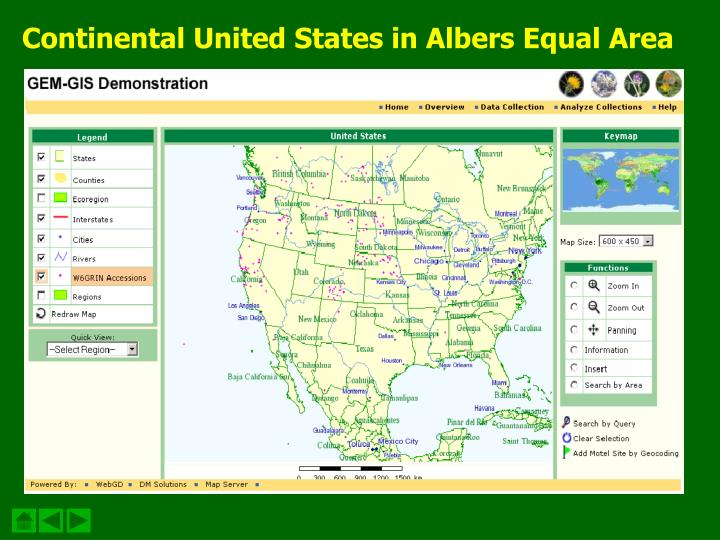 Continental United States in Albers Equal Area