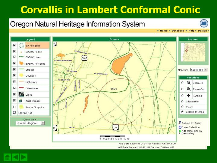 Corvallis in Lambert Conformal Conic