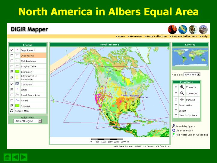 North America in Albers Equal Area