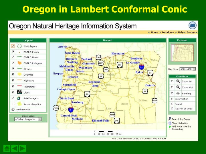 Oregon in Lambert Conformal Conic