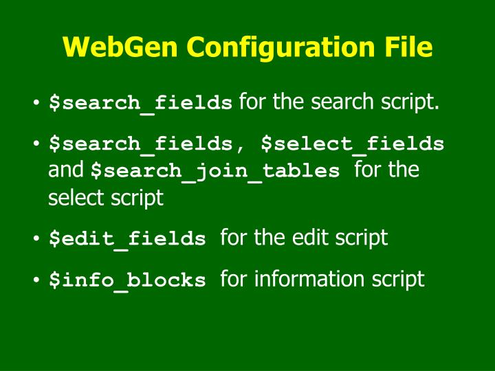 WebGen Configuration File