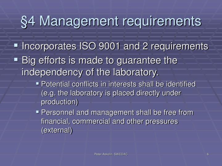 §4 Management requirements