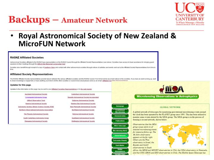 Royal Astronomical Society of New Zealand & MicroFUN Network