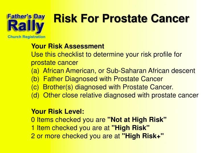 Risk For Prostate Cancer