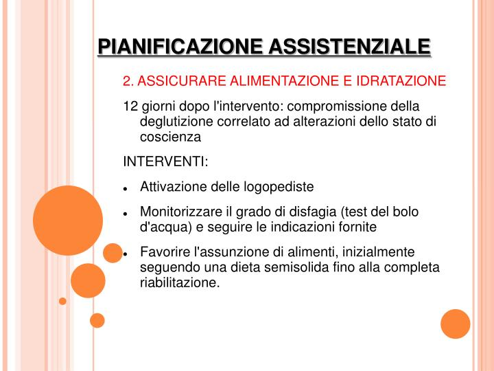 2. ASSICURARE ALIMENTAZIONE E IDRATAZIONE
