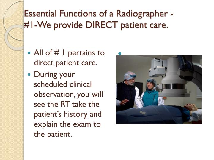 Essential Functions of a Radiographer -