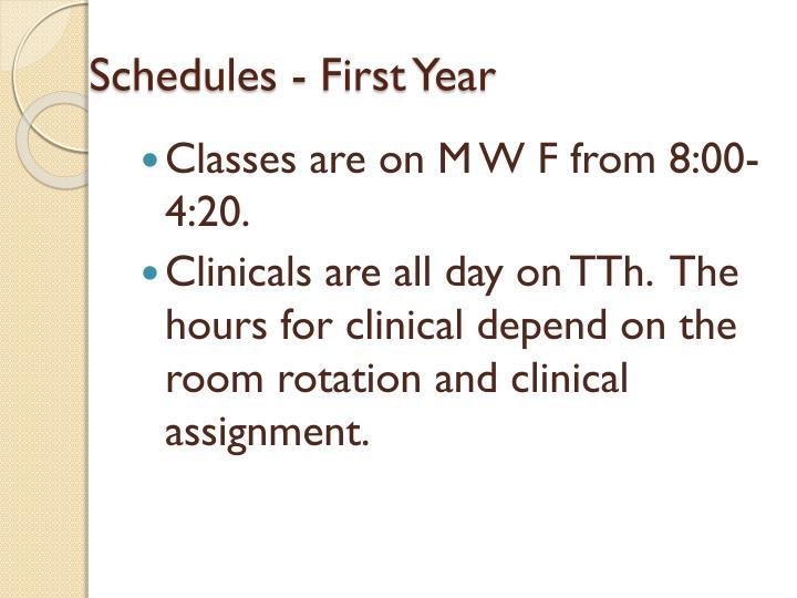 Schedules - First Year
